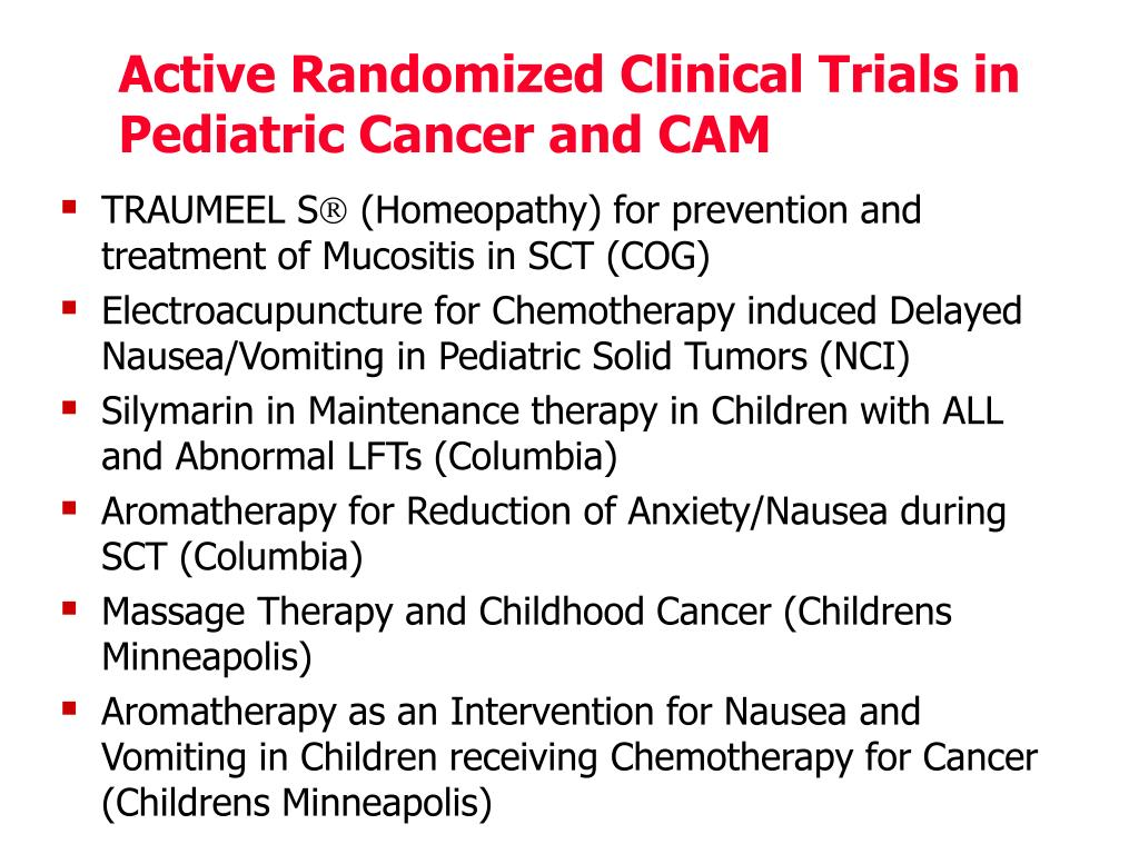 Active Randomized Clinical Trials in Pediatric Cancer and CAM