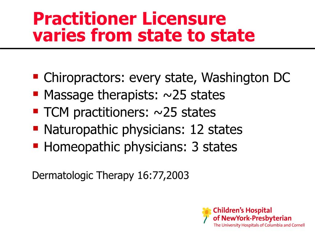 Practitioner Licensure varies from state to state