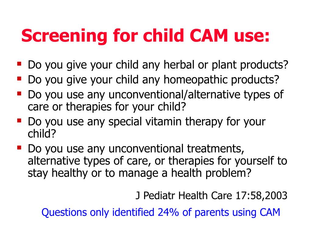 Screening for child CAM use: