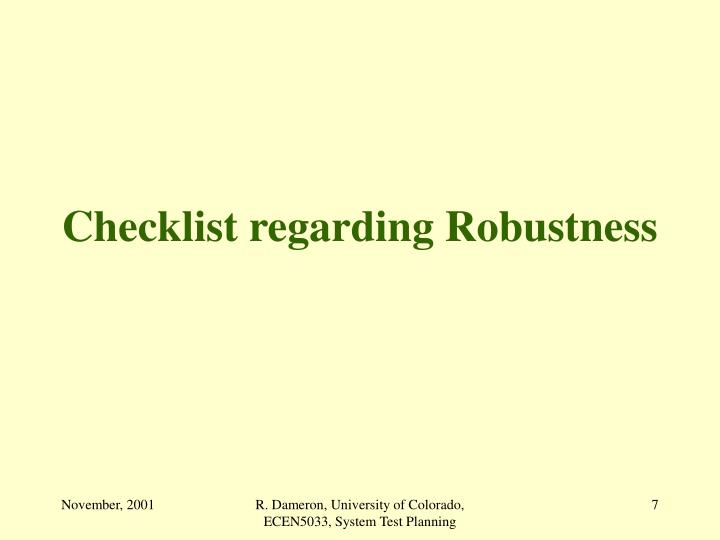 Checklist regarding Robustness