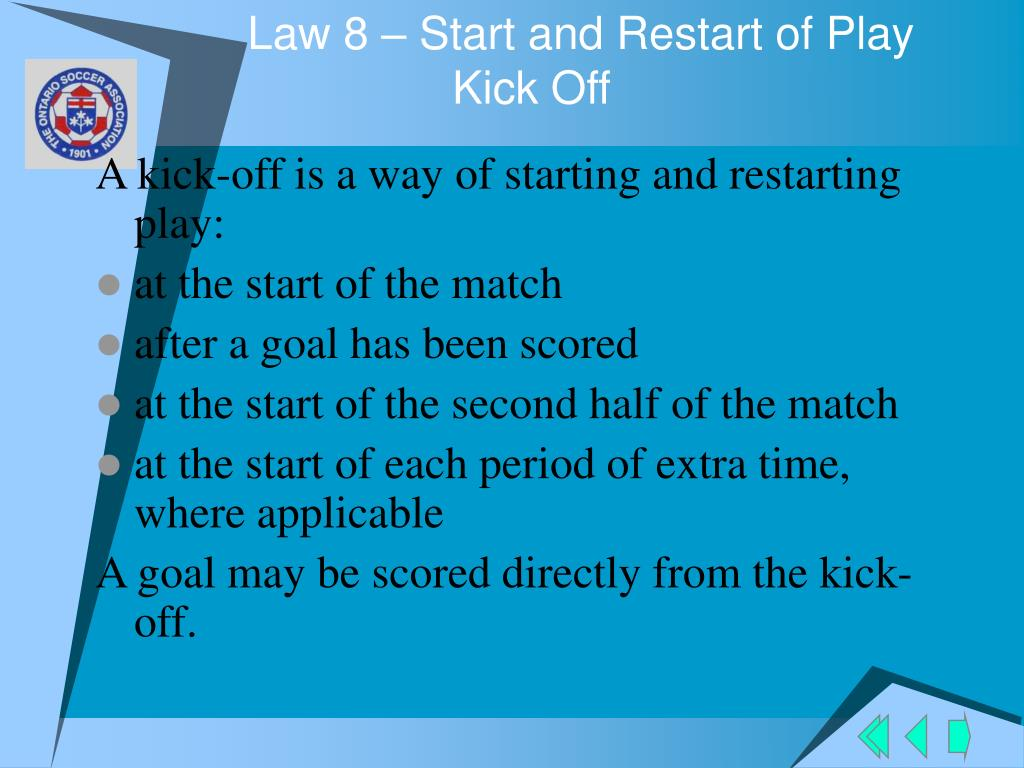 Law 8 – Start and Restart of Play