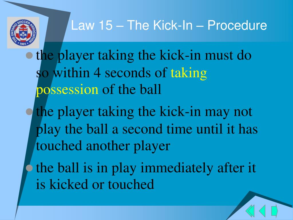Law 15 – The Kick-In – Procedure