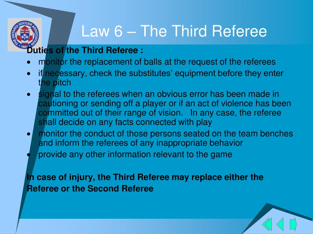 Law 6 – The Third Referee