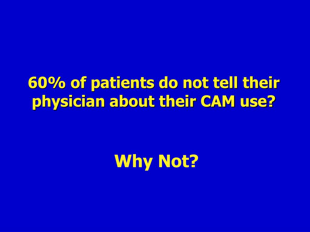 60% of patients do not tell their physician about their CAM use?