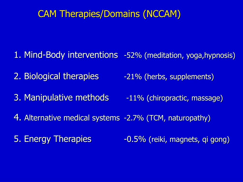 CAM Therapies/Domains (NCCAM)