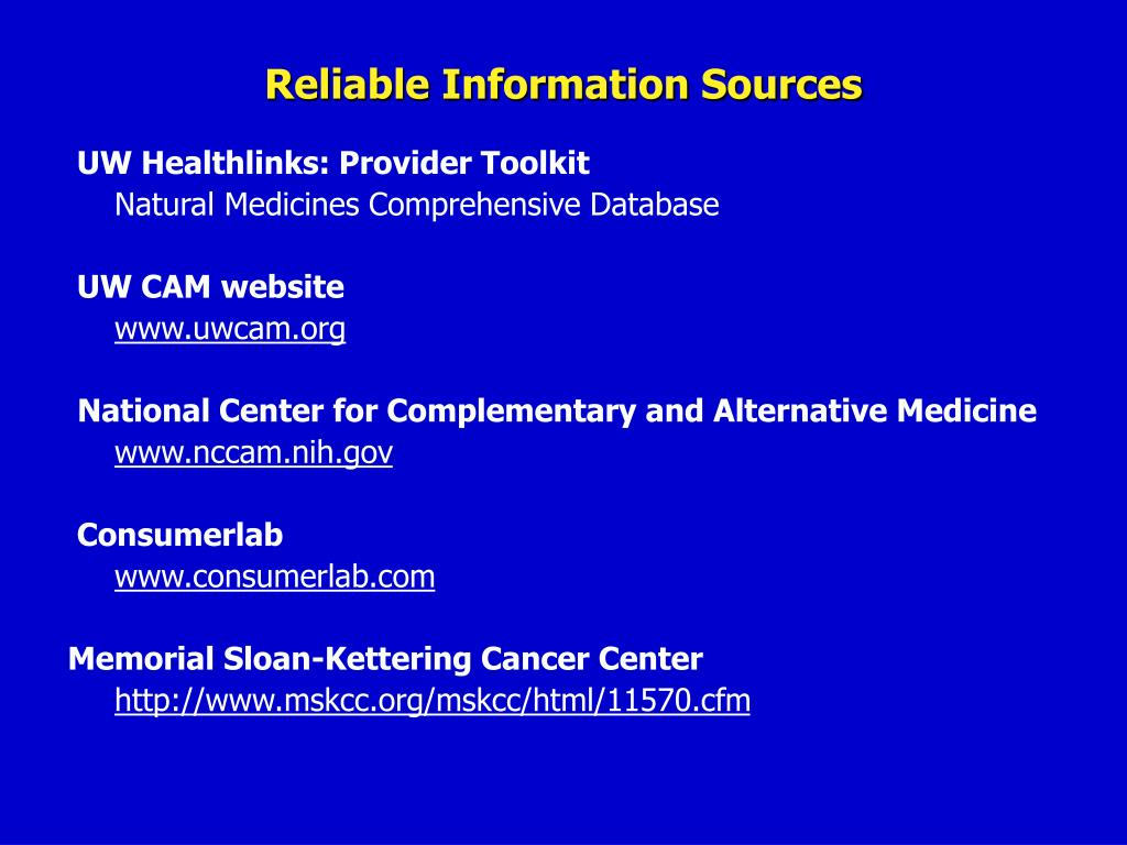 Reliable Information Sources
