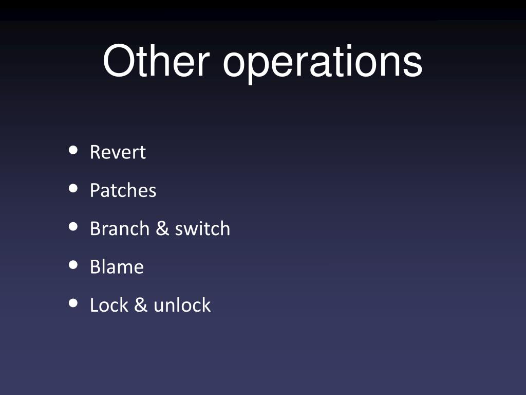 Other operations