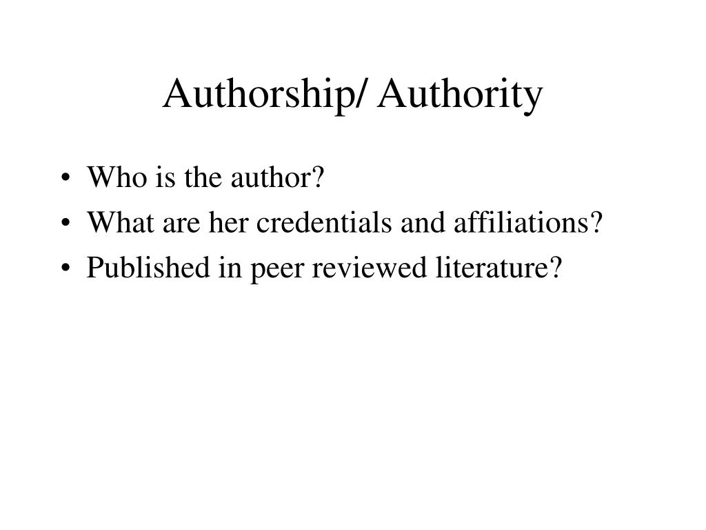 Authorship/ Authority