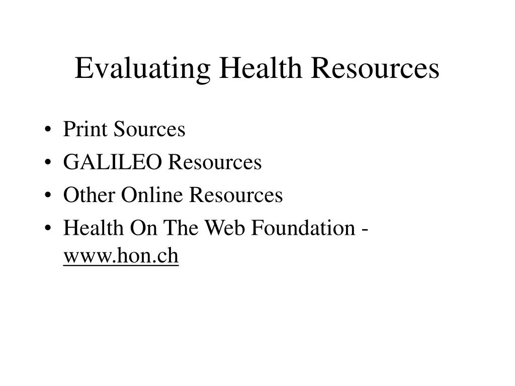 Evaluating Health Resources