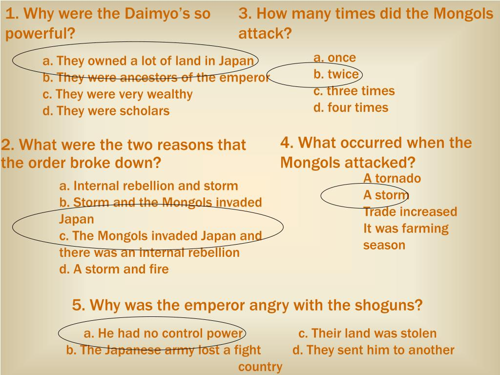 1. Why were the Daimyo's so powerful?