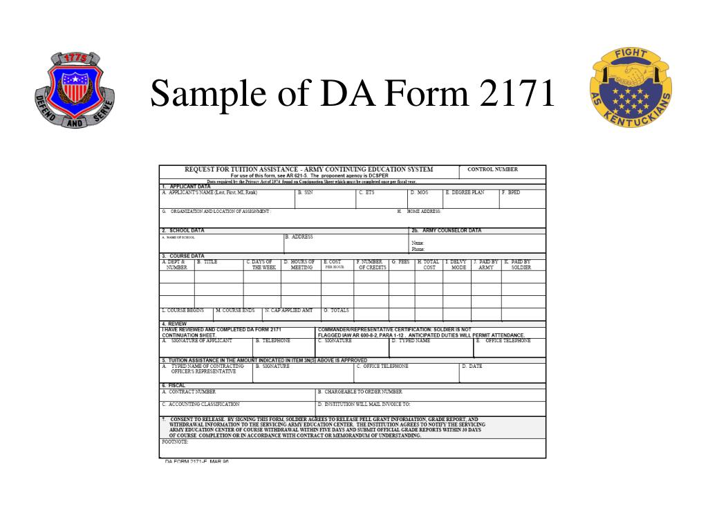 Sample of DA Form 2171