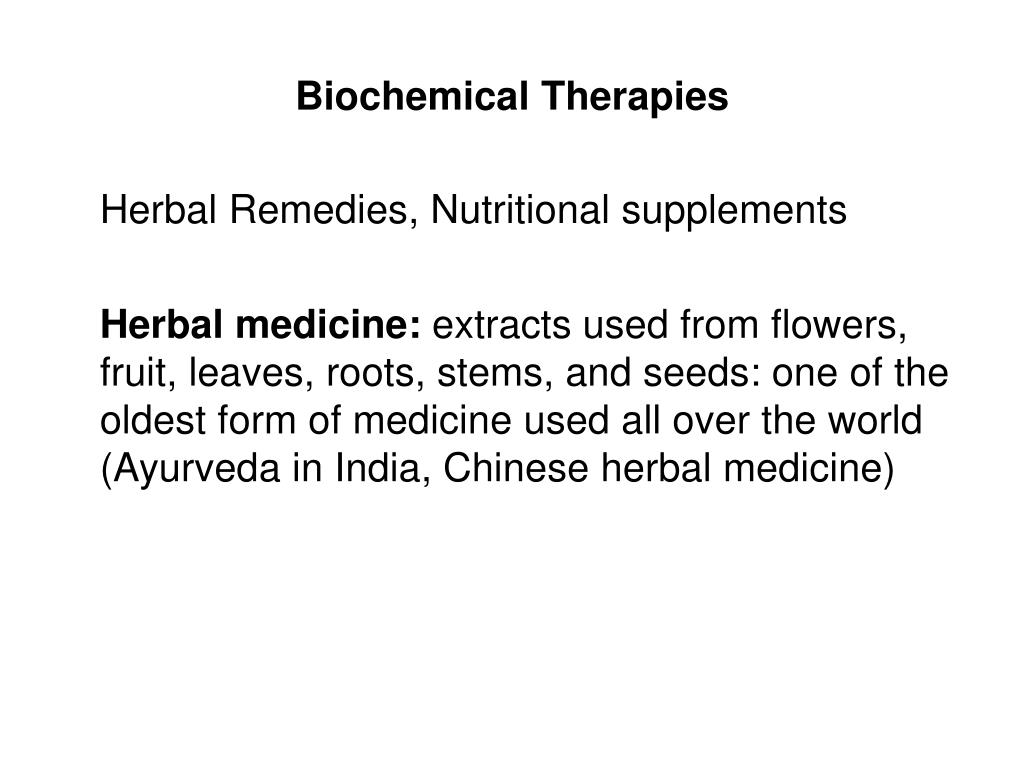 Biochemical Therapies