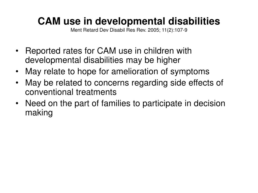 CAM use in developmental disabilities