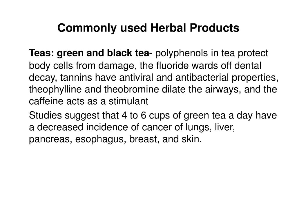 Commonly used Herbal Products