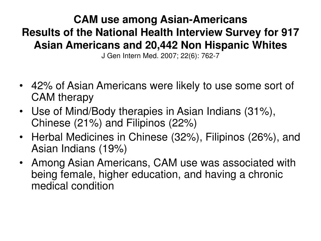 CAM use among Asian-Americans