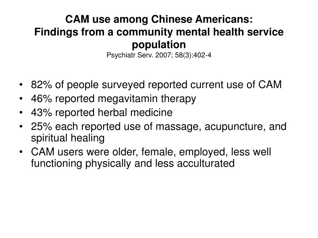 CAM use among Chinese Americans: