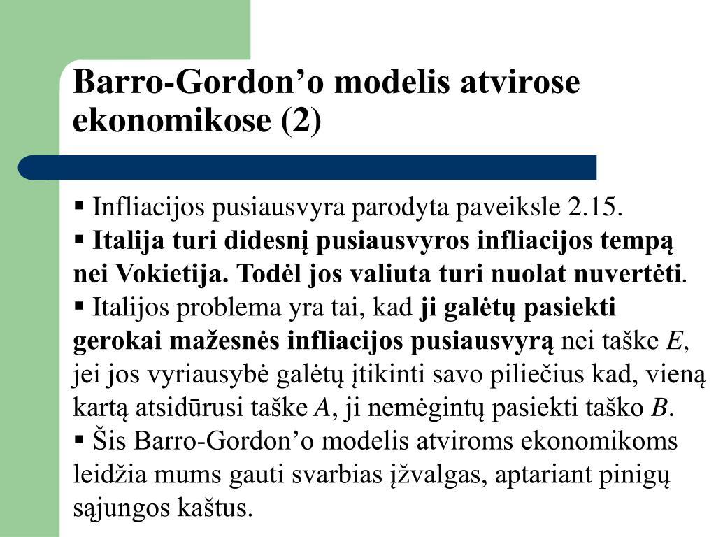 Barro-Gordon'o modelis atvirose ekonomikose