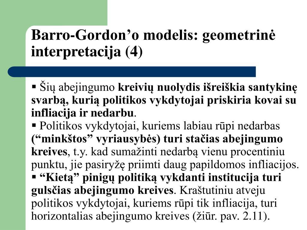 Barro-Gordon'o modelis: geometrinė interpretacija