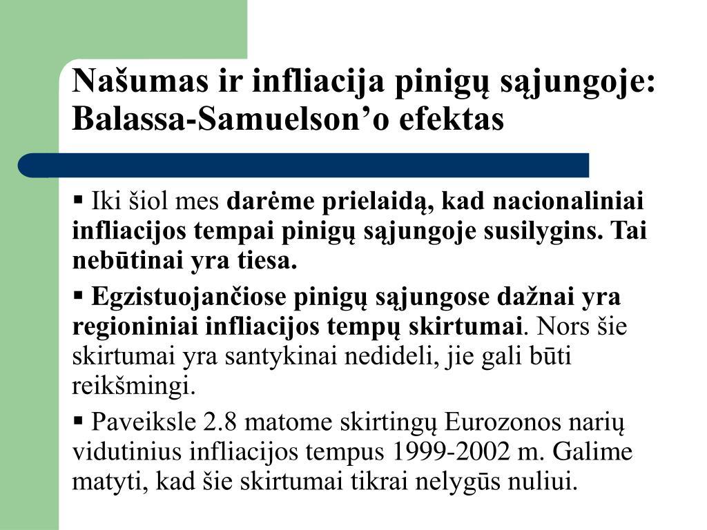Našumas ir infliacija pinigų sąjungoje: Balassa-Samuelson'o efektas