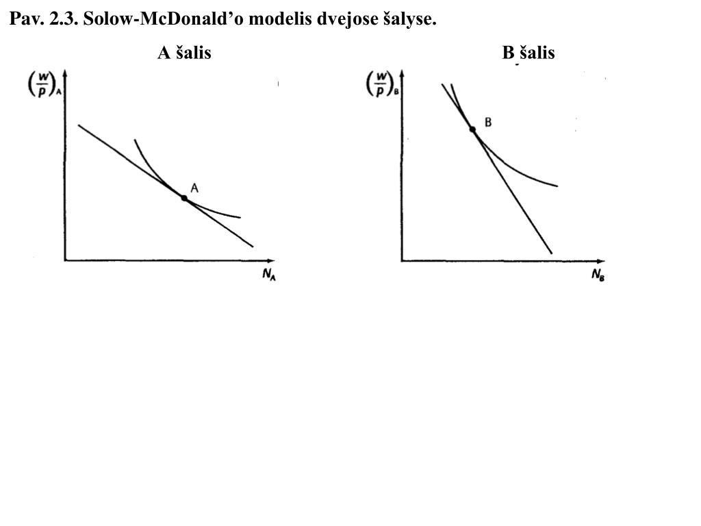 Pav. 2.3. Solow-McDonald'o modelis dvejose šalyse.
