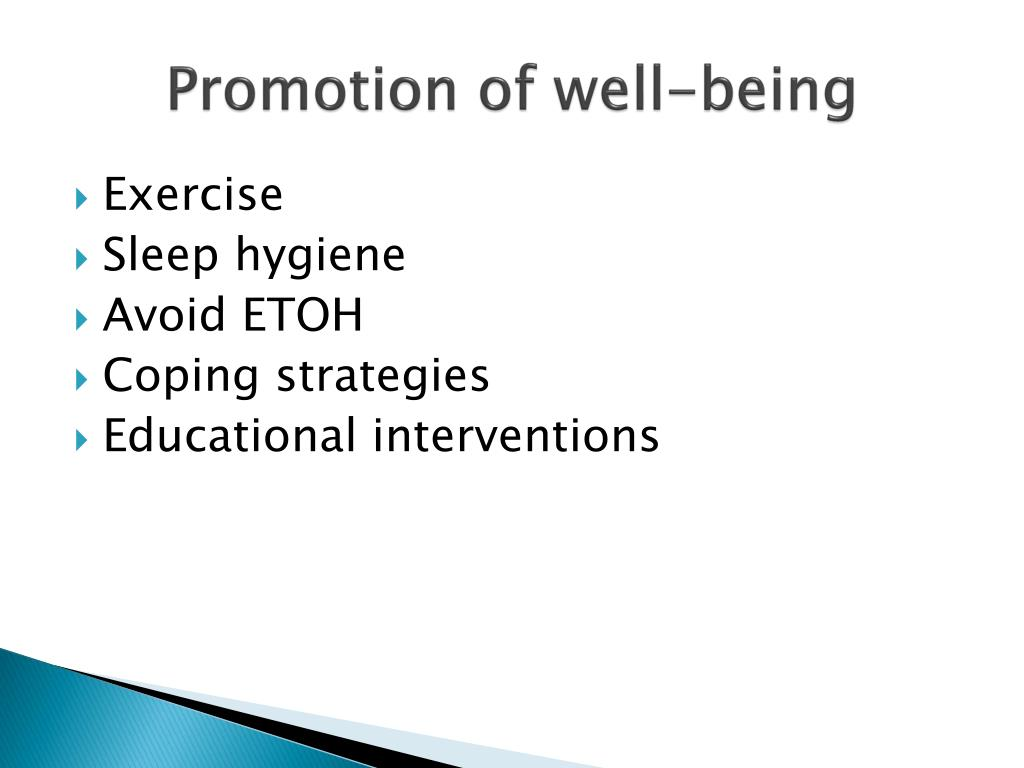 Promotion of well-being