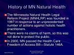 history of mn natural health