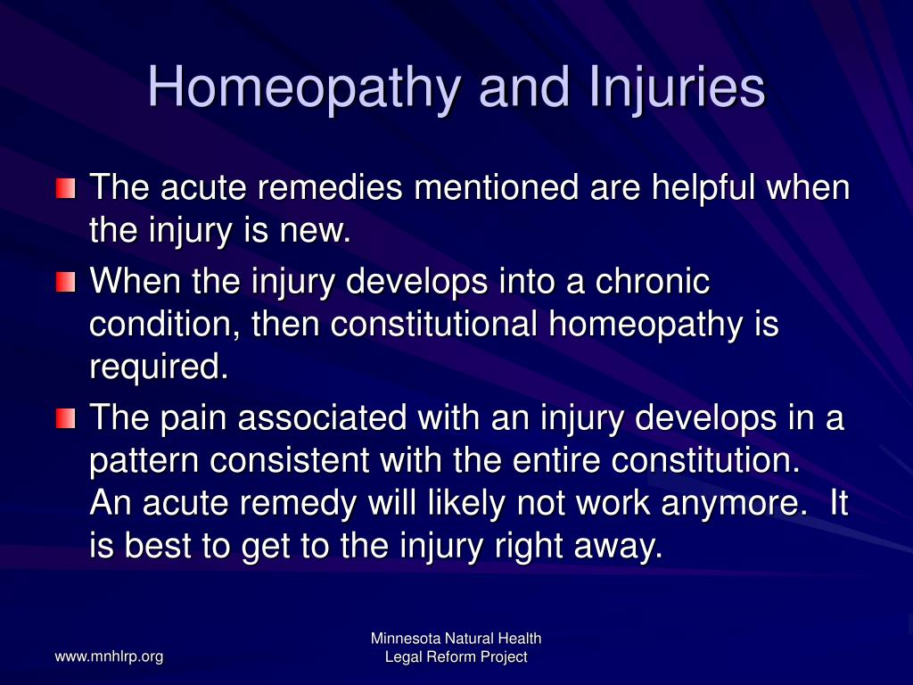 Homeopathy and Injuries