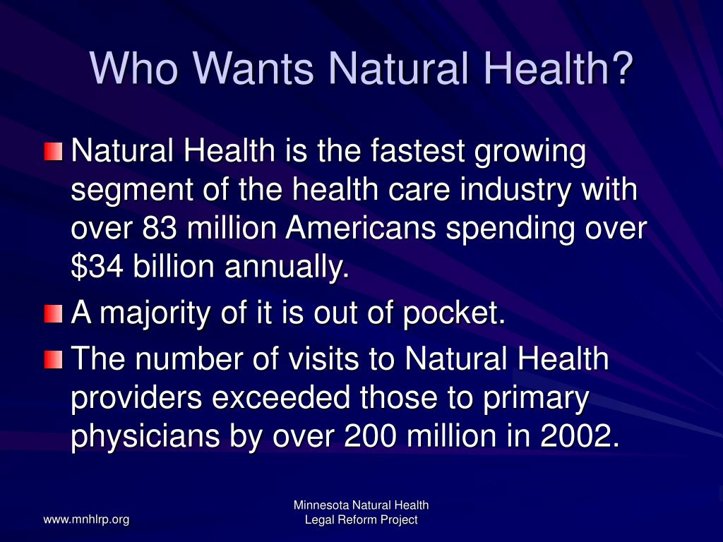 Who Wants Natural Health?