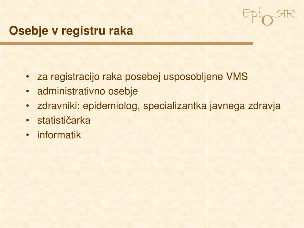 Osebje v registru raka