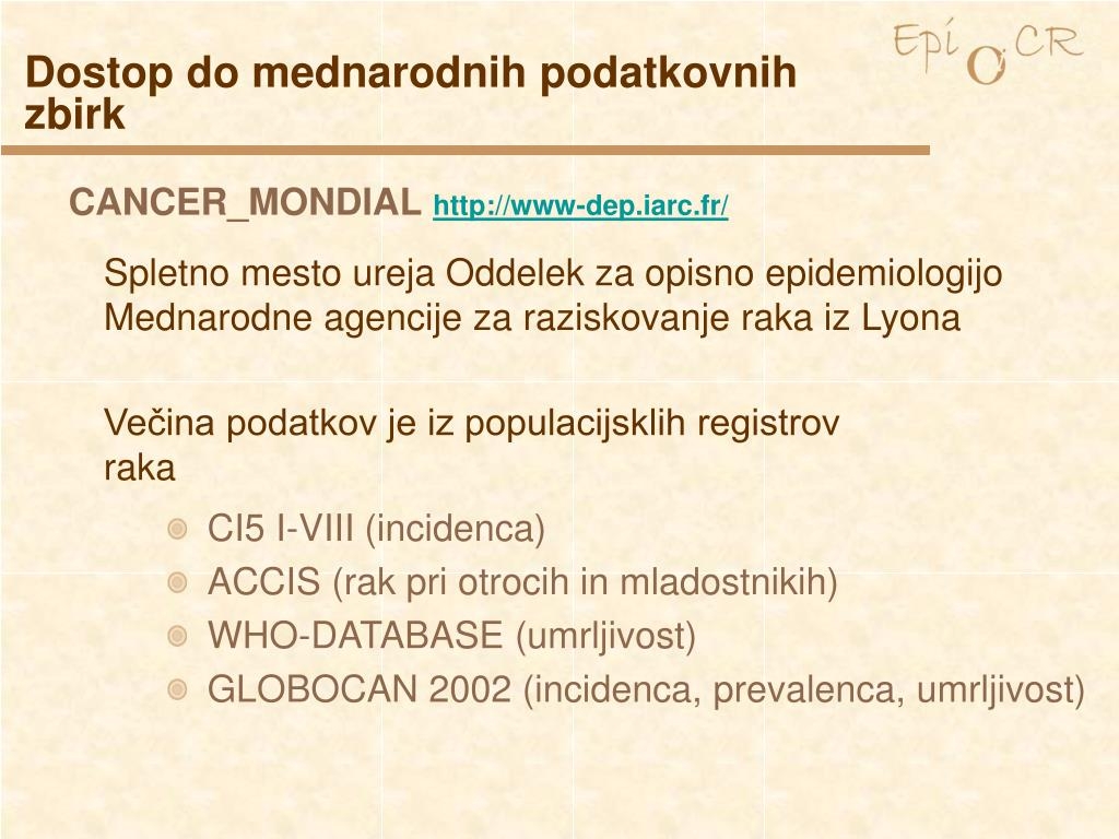 Dostop do mednarodnih podatkovnih zbirk