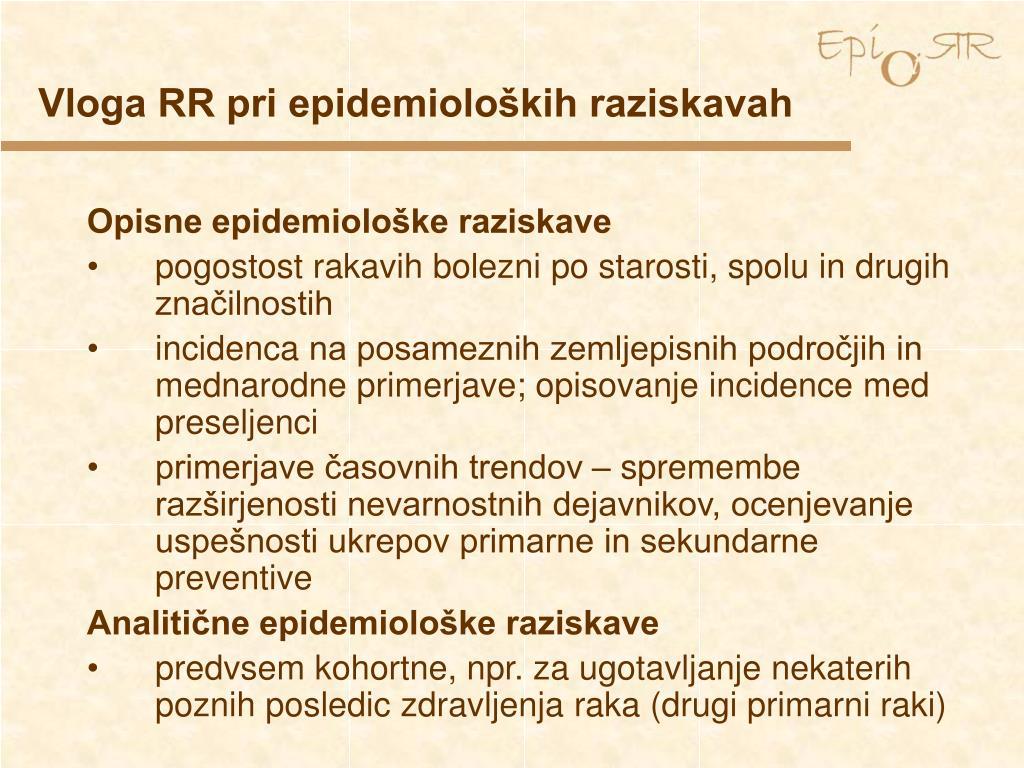 Vloga RR pri epidemioloških raziskavah