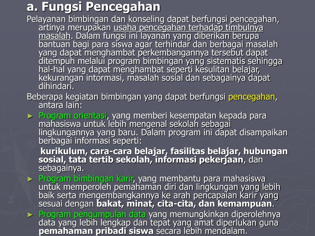a. Fungsi Pencegahan