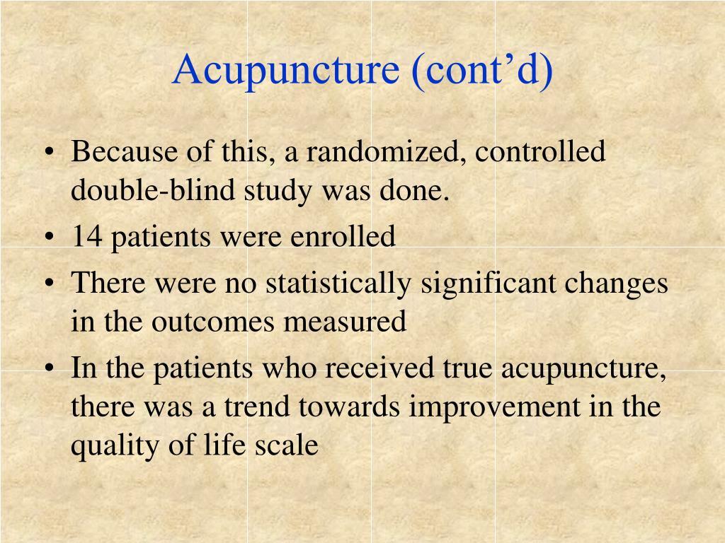 Acupuncture (cont'd)
