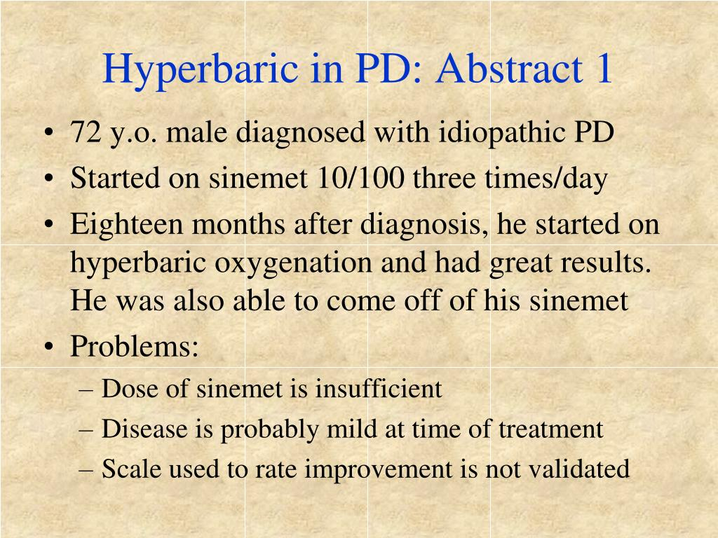 Hyperbaric in PD: Abstract 1