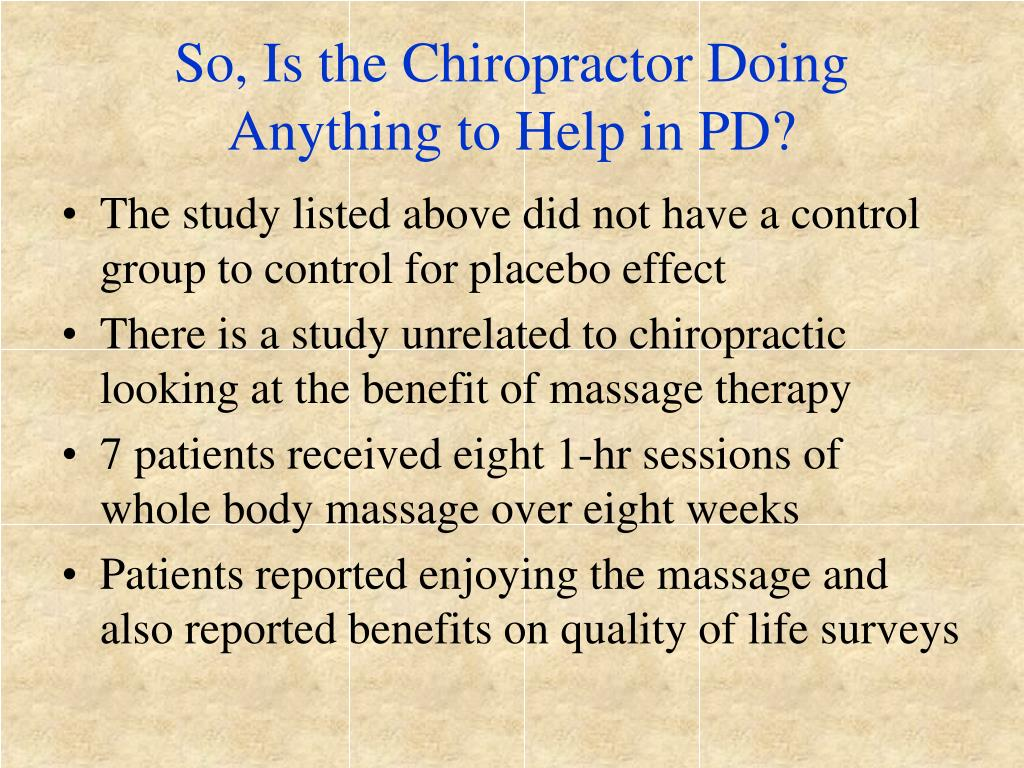 So, Is the Chiropractor Doing Anything to Help in PD?