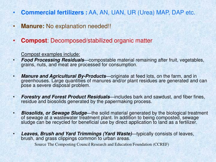Commercial fertilizers :