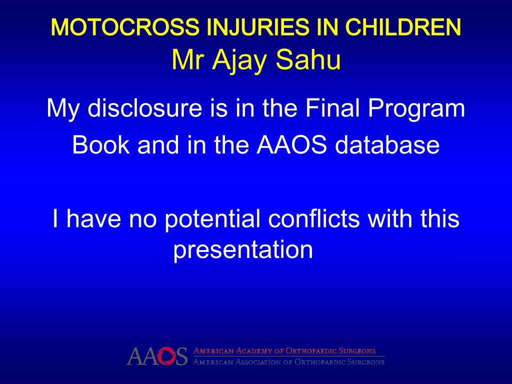 MOTOCROSS INJURIES IN CHILDREN
