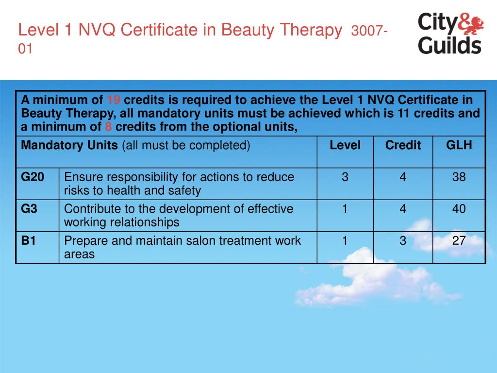 Level 1 NVQ Certificate in Beauty Therapy