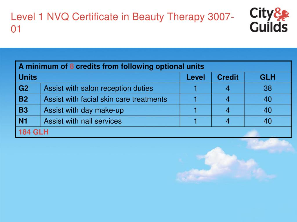 Level 1 NVQ Certificate in Beauty Therapy 3007-01