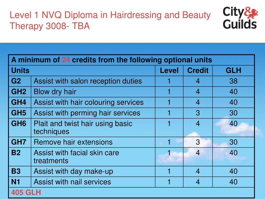 Level 1 NVQ Diploma in Hairdressing and Beauty Therapy 3008- TBA