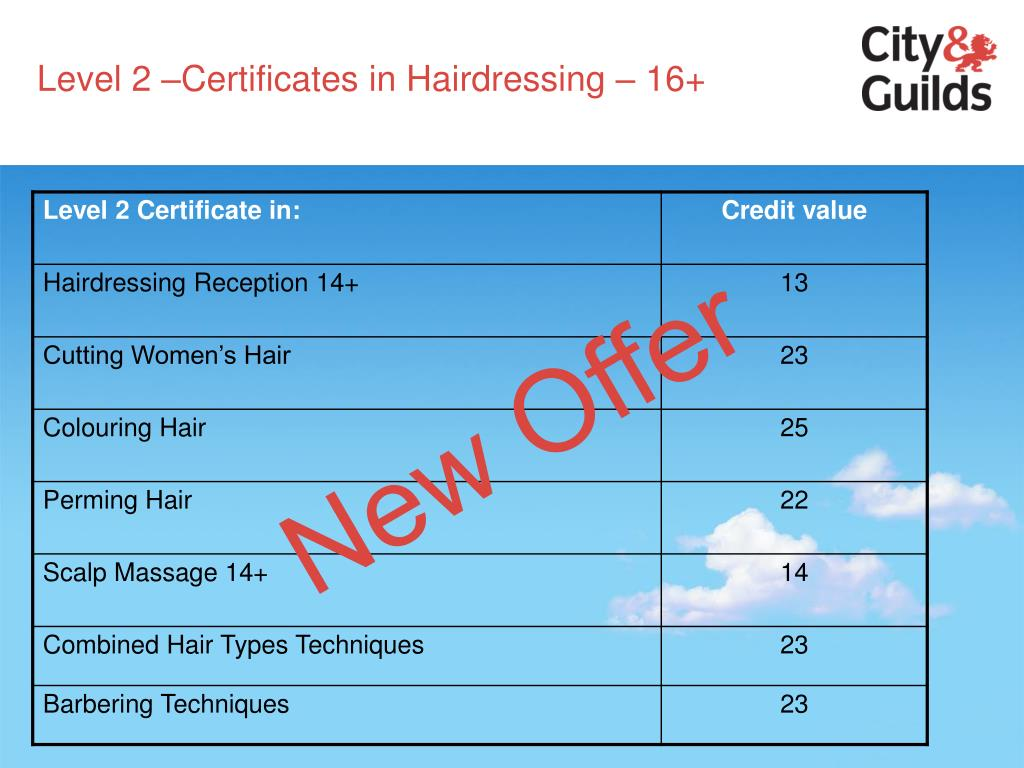 Level 2 –Certificates in Hairdressing – 16+