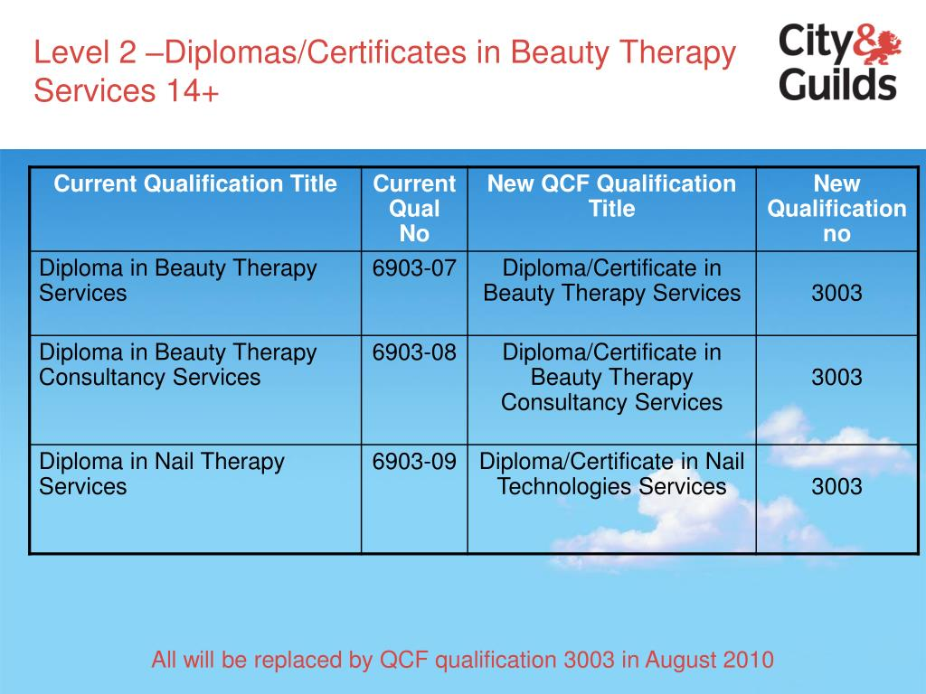 Level 2 –Diplomas/Certificates in Beauty Therapy Services 14+