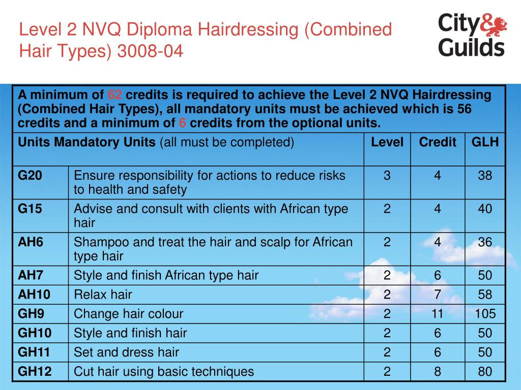 Level 2 NVQ Diploma Hairdressing (Combined Hair Types) 3008-04