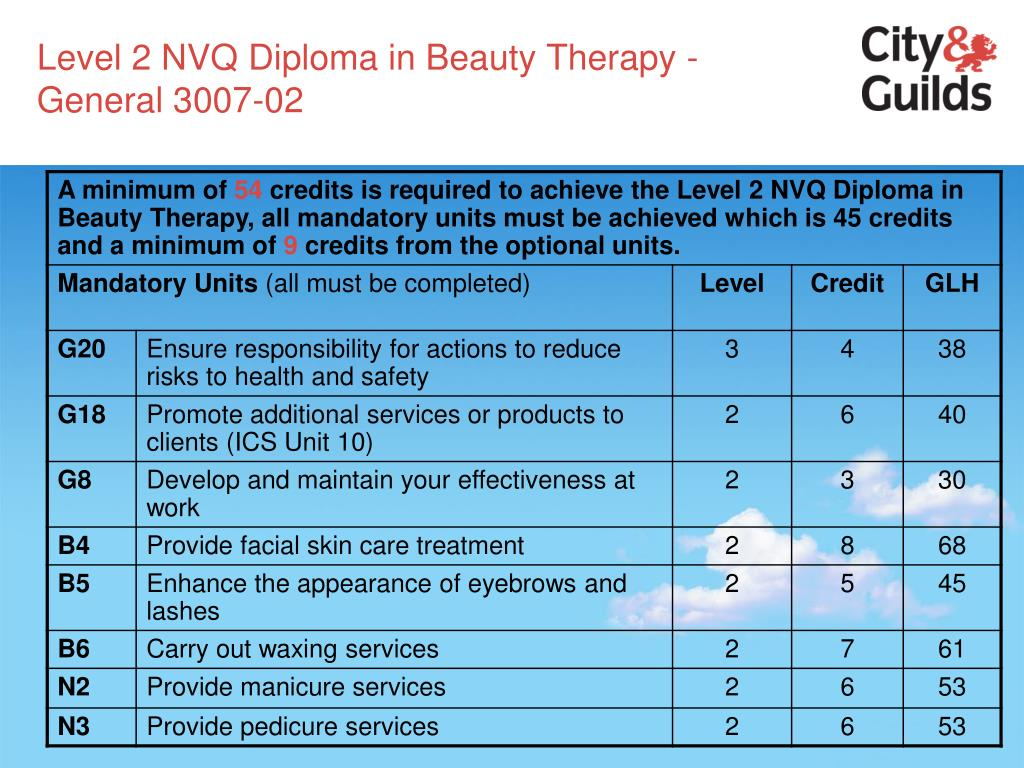 Level 2 NVQ Diploma in Beauty Therapy - General 3007-02
