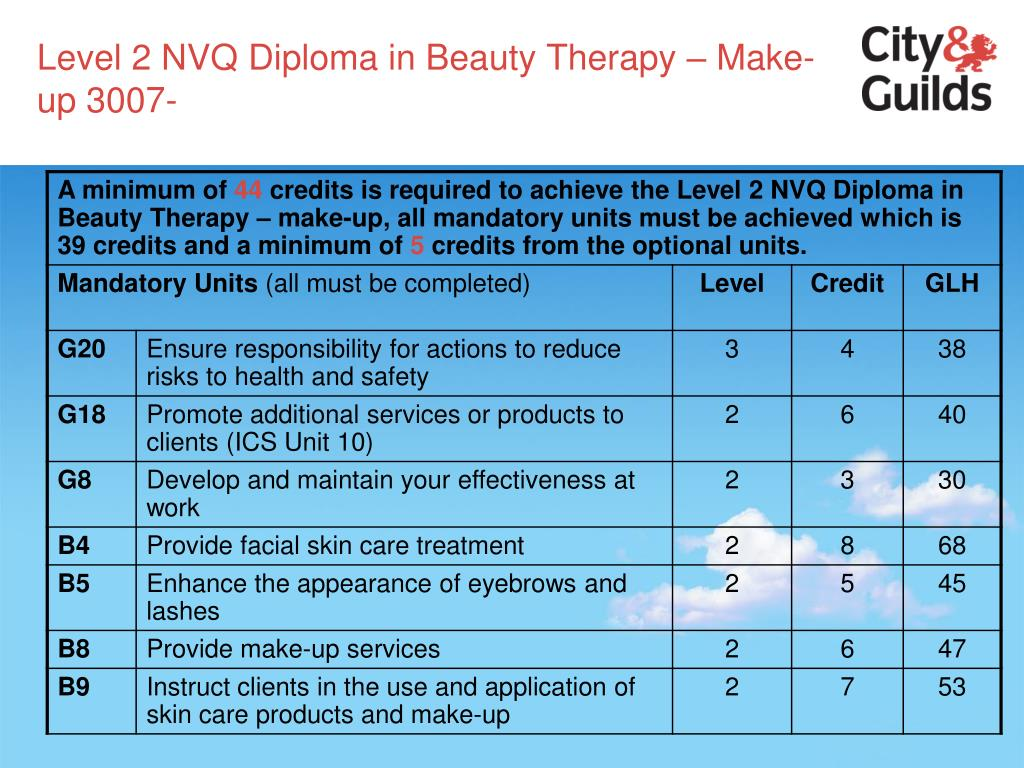 Level 2 NVQ Diploma in Beauty Therapy – Make-up 3007-