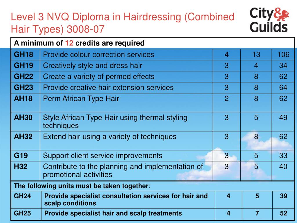 Level 3 NVQ Diploma in Hairdressing (Combined Hair Types) 3008-07