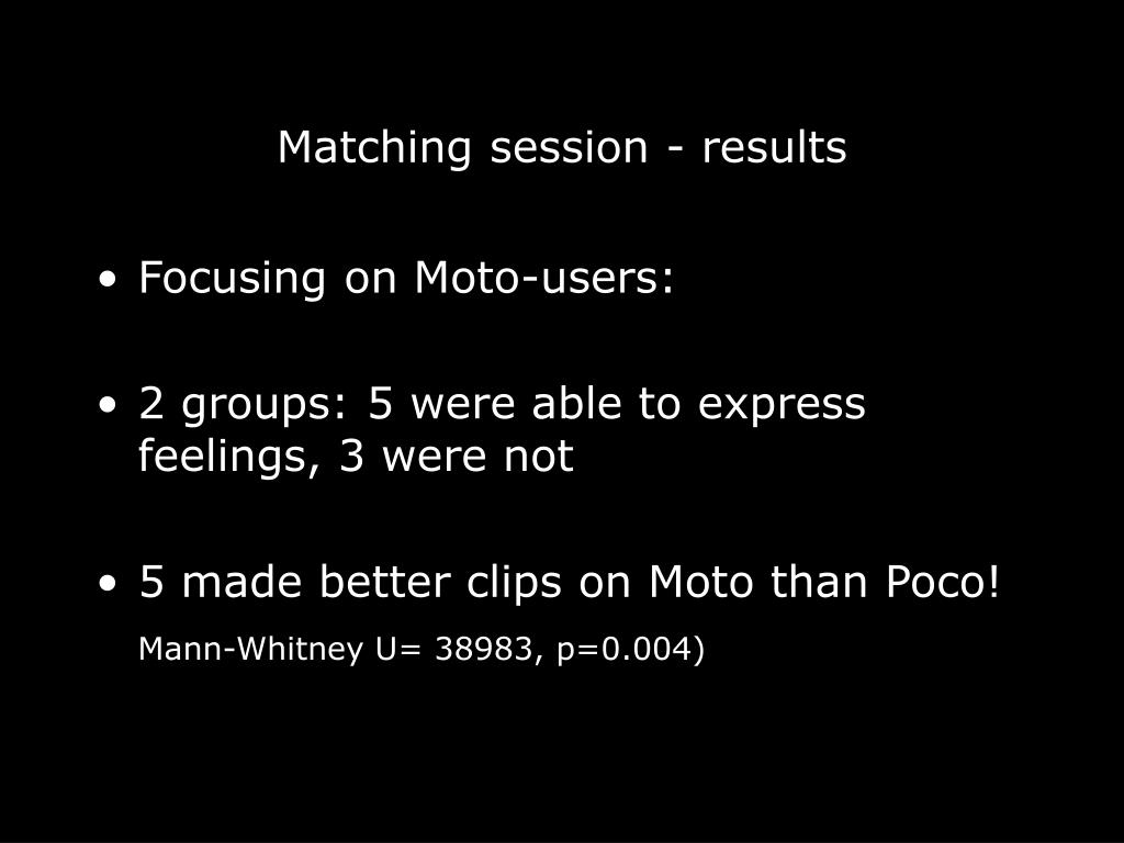 Matching session - results