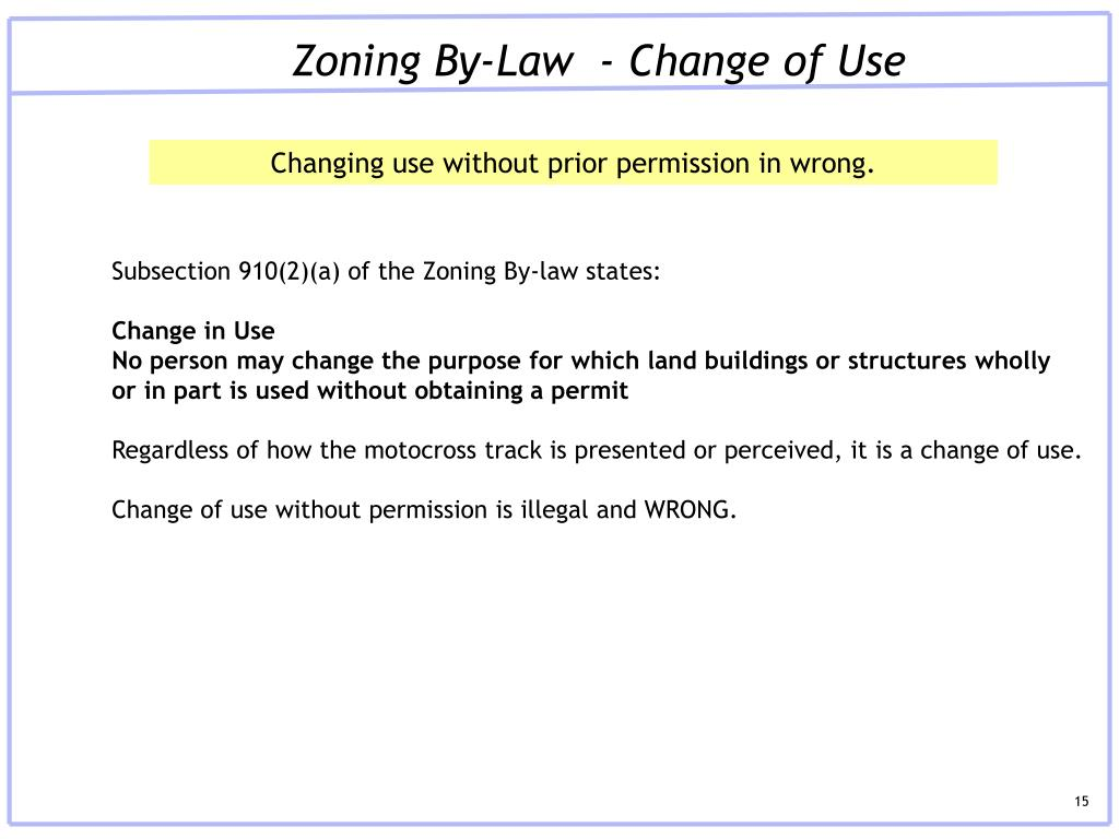 Zoning By-Law  - Change of Use