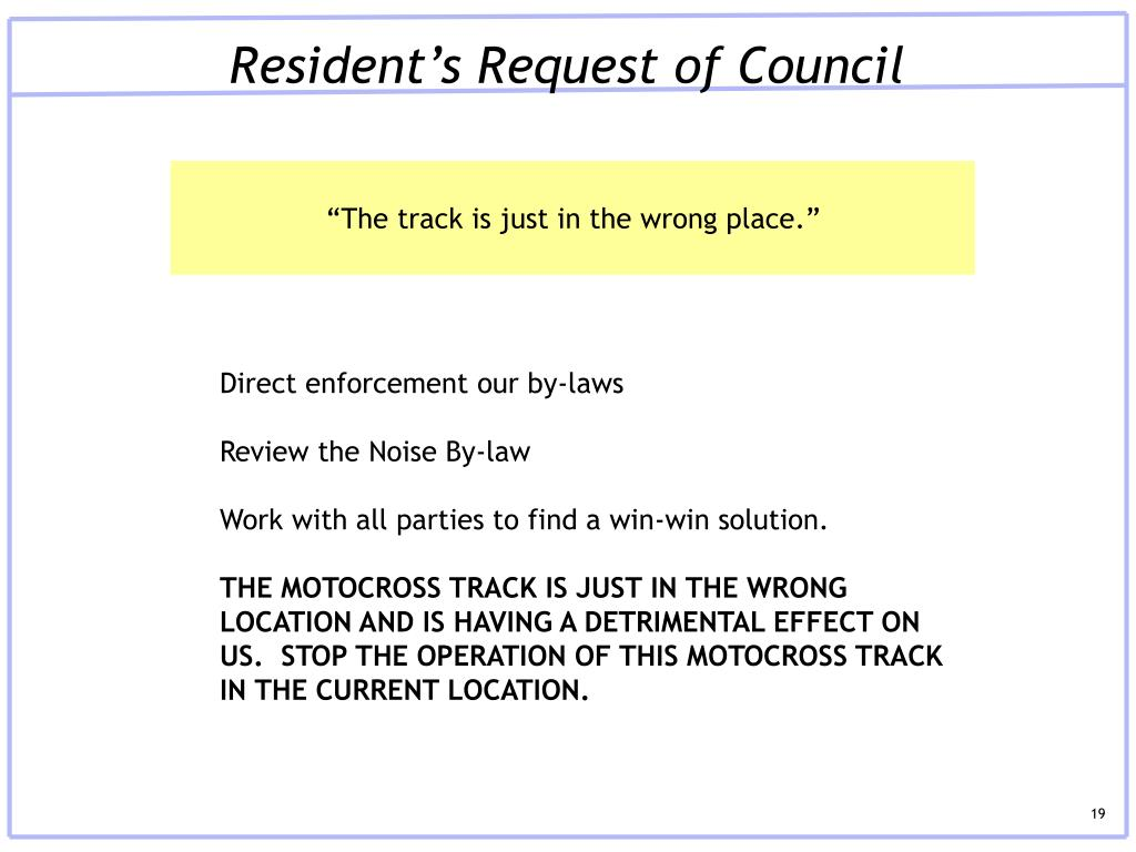 Resident's Request of Council