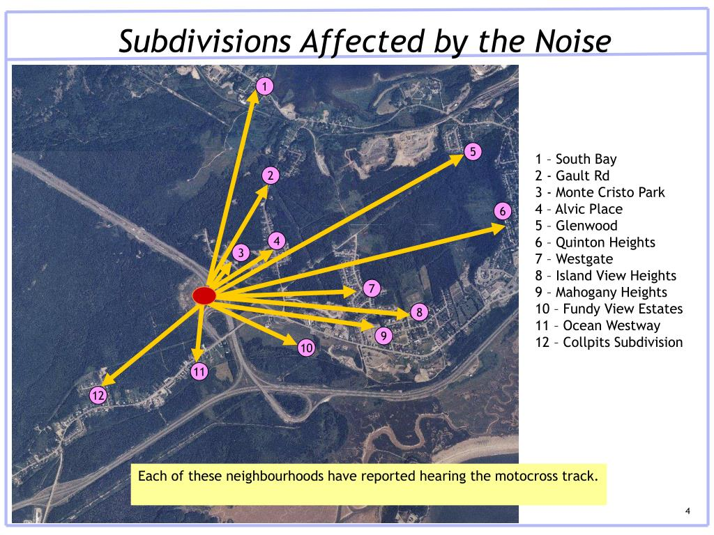 Subdivisions Affected by the Noise